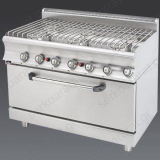 Κουζίνα αερίου επαγγελματική με 6 εστίες & φούρνο Catrine KGFM670