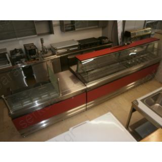 Αναψυκτηρίου εξοπλισμός 16 με θερμαινόμενη και ψυχόμενη βιτρίνα & σύνθετος πάγκος κρέπας και ταμείου