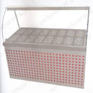Ψυγείο σαλατών βιτρίνα (επικλινή σειρά 70) 150Χ70Χ130