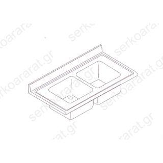 Επιφάνεια λάντζας με (2) γούρνες 120Χ70