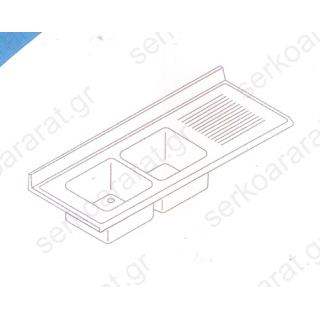 Επιφάνεια λάντζας με (2) γούρνες & στραγγιστήρα 190Χ70