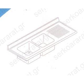 Επιφάνεια λάντζας με (2) γούρνες & στραγγιστήρα 210Χ70