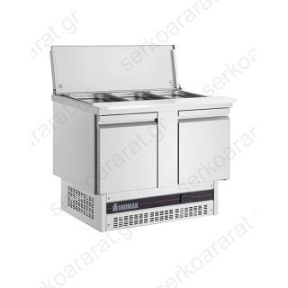 Ψυγείο σαλατών συντήρηση με 2 πόρτες & ανοξείδωτο κάλυμμα BSV77
