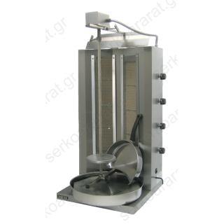 Γύρος υγραερίου για 80-100 κιλά κρέατος με διπλούς κατακόρυφους καυστήρες MOD.908