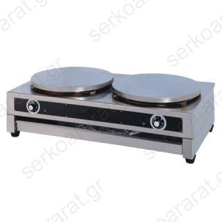 Κρεπιέρα διπλή ηλεκτρική με εστίες 40cm DE-2