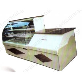 Εξοπλισμός ζαχαροπλαστείου 2 με ψυγείο ζαχαροπλαστικής και ταμείο παραδωτήριο