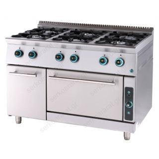 Κουζίνα υγραερίου επιδαπέδια 6 εστιών & φούρνο FC6FS7