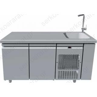 Ψυγείο πάγκος συντήρηση με γούρνα 40Χ40 & 2 πόρτες 159Χ70Χ85