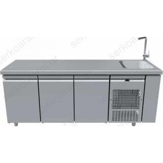 Ψυγείο πάγκος συντήρηση με γούρνα 40Χ40 & 3 πόρτες 205Χ70Χ85
